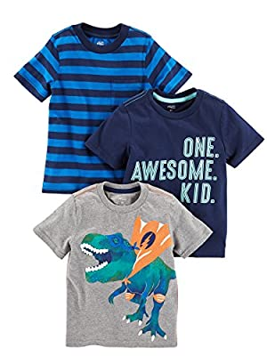 Simple Joys by Carter's Baby Boys' Toddler 3-Pack Graphic Tees, Awesome, Stripe, Dino, 4T from Carter's Simple Joys - Private Label
