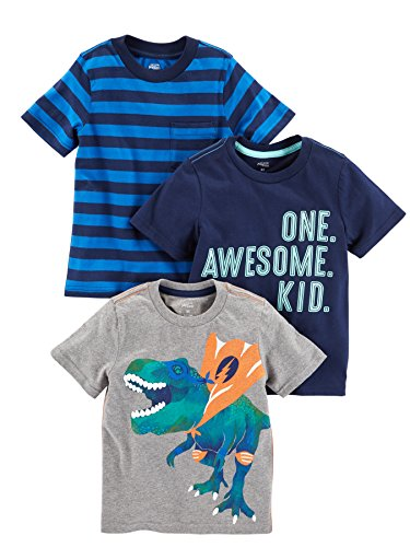 Simple Joys by Carter's Baby Boys' Toddler 3-Pack Graphic Tees, Awesome, Stripe, Dino, 5T