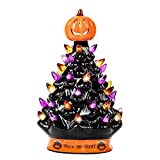 RJ Legend 9-Inch Halloween Decorations Ceramic Tree - 35+ Multicolor Bulbs Halloween Tree – Handcrafted and Hand Painted – Glossy Finish – Pumpkin Top and Trick or Treat Bottom
