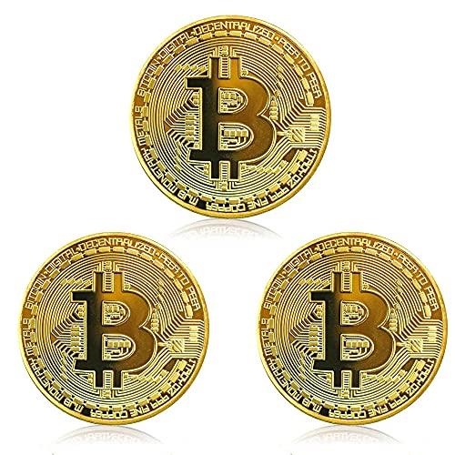N+U Bitcoin Moneta,Set di 3 Monete da Collezione,Collezione Artistica Fisica,placcata in Oro Bitcoin da Collezione BTC con Capsula Protettiva