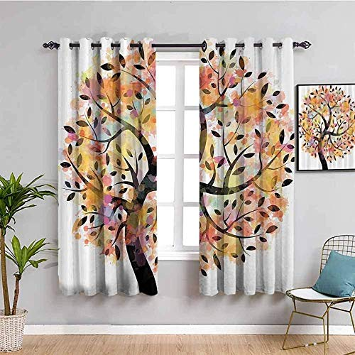 ZLYYH Bedroom Curtains Cartoon color abstract tree W55 xL102 Blackout Curtains for Bedroom – Thermal Insulated, Energy Saving & Noise Reducing Grommet Curtains for Living Room, Set of 2 Curtain Panel