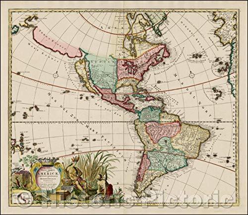 Historic Map - Recentissima Novi Orbis Sive Americae Septentrionalis et Meridionalis Tabula ex Officina Caroli Allard, 1700, Carel Allard v2 51in x 44in