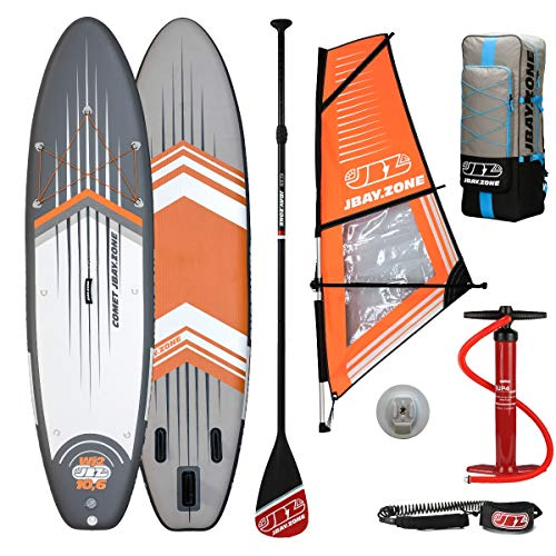 JBAY.Zone Tabla de Stand Up Paddle Surf Sup Hinchable Modelo Wind Comet WJ2 10'6'' Cm 320x81x15 + Vela de Windsurf JSAIL Windsurfing Sup Board Crossover Series