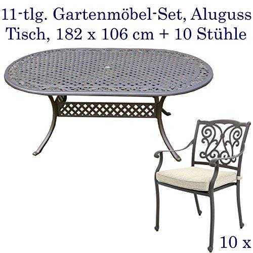 Hanseatisches Im- & Export Contor GmbH Aluguss Gartenmöbel-Set, Gartenmöbelgarnitur bestehend aus Gartentisch mit Gartenstühlen (Ovaler Tisch 182 x 106 cm + 10 Stühle)