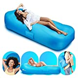 amzdeal Portable Inflatable Lounge Chair-Waterproof and Leakproof Air Sofa for Outdoor Beach Pool Travel Camping Picnic Blue 330 lb