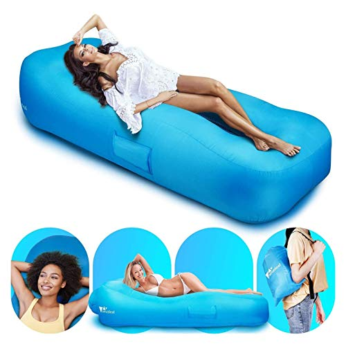 amzdeal Inflatable Lounge Chair Air Sofa -Water Proof& Anti-Air Leaking Inflatable Couch for Travelling, Outdoor, Camping, Hiking, Beach Parties, Picnic, Backyard, Lakeside, Air Hammock Blue