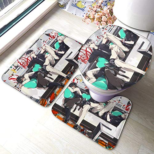 Bobo-Shop 3-delige badmat Tokyo Ghoul, badmatset, zachte anti-slip pads, badmat + contourpads + toiletdeksel