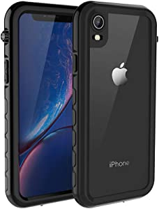 iPhone XR Waterproof Case MIZUSUPI Underwater Full Sealed IP68 Certified Waterproof Case Dustproof Snowproof Shockproof Cover with Built-in Screen Protector for iPhone XR 6.1 inch Black