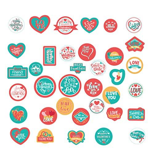 Amosfun 20 vellen Valentijnsdag Sticker Verzegelen Geschenk Wrapping Sticker Liefdespatroon Sticker Sticker Decoratieve Seal Sticker voor Gift Present Kaartdoos Muur