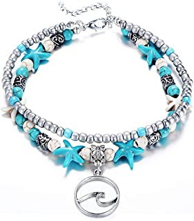 Wave Blue Starfish Silver Turtle Anklet Multi-layer Turquoise Charm Beads Sea Bench Handmade Boho Anklet Foot Jewelry Gifts for Women