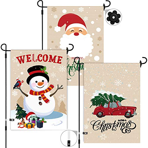 3 Pieces Christmas Garden Flags Double Sided Burlap Yard Flags Santa Claus Snowman Red Truck Garden Flags with 4 Pieces Accessories for Christmas Home Decoration Favors, 12 x 18 Inches