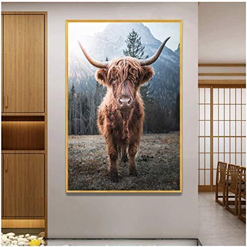 Surfilter Print auf Leinwand Ochsen Wandbilder für Wohnzimmer Highland Cow Wandkunst Leinwand Malerei Poster Drucke Vieh dekorativ 23.6& rdquo; x 35.4& rdquo; (60x90cm) No Frame