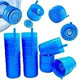 30 PCS Non Spill Caps(Blue),Plastic Anti-Splash Water Bottle Caps,Reusable for 55mm 3 and 5 Gallon Twist Caps