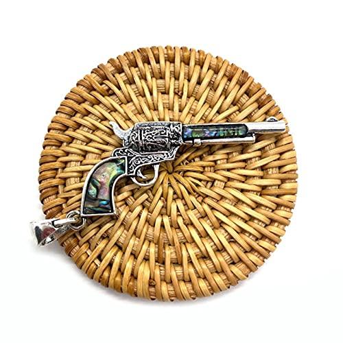 ZhenS Collar con Colgante en Forma de Pistola Retro con Concha de abulón Natural, joyería DIY, Regalos, tamaño Colgante, 30X62mm, Plata, B, sin Cuerda