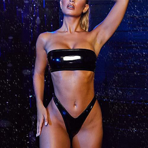 Damen Leder Bikini Set Lackleder Trägerlos Bandeau Hohe Taille High Cut Frauen Zweiteiliger Bademode mit Bikinihose Strandmode M Schwarz 730599 (Bademode Strandmode Strandbikini Two Piece Beachwear)
