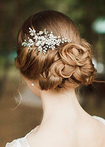 Kercisbeauty Hochzeitskamm mit mintgrünen Perlen, Braut, Brautjungfern, Blumenmädchen, Haarschmuck, Kopfschmuck, Accessoire für lange und gelockte Haare und Hochsteckfrisuren, Haar-Accessoires