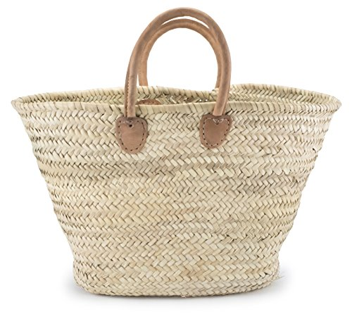 Moroccan Straw Shopper Bag w/Brown Leather Handles - 22'Lx8'Wx15'H - Palermo