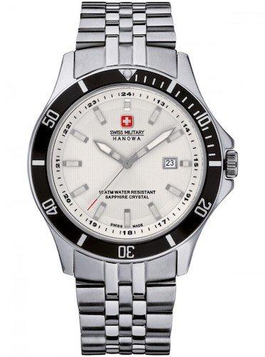 swiss military hanowa Herren Analog Quarz Uhr mit Edelstahl Armband 06-5161.2.04.001.07