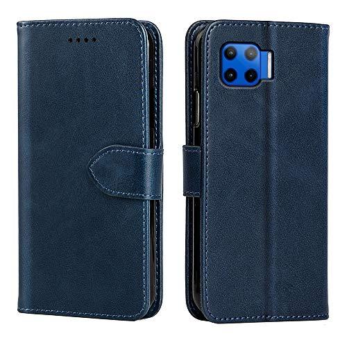 NOKOER Funda para Motorola Moto G 5G Plus, Nueva Piel de Vaca Leather Carcasas [3 Ranuras para Tarjetas] [Función de Soporte] Protección Todo Incluido Case Cover - Azul