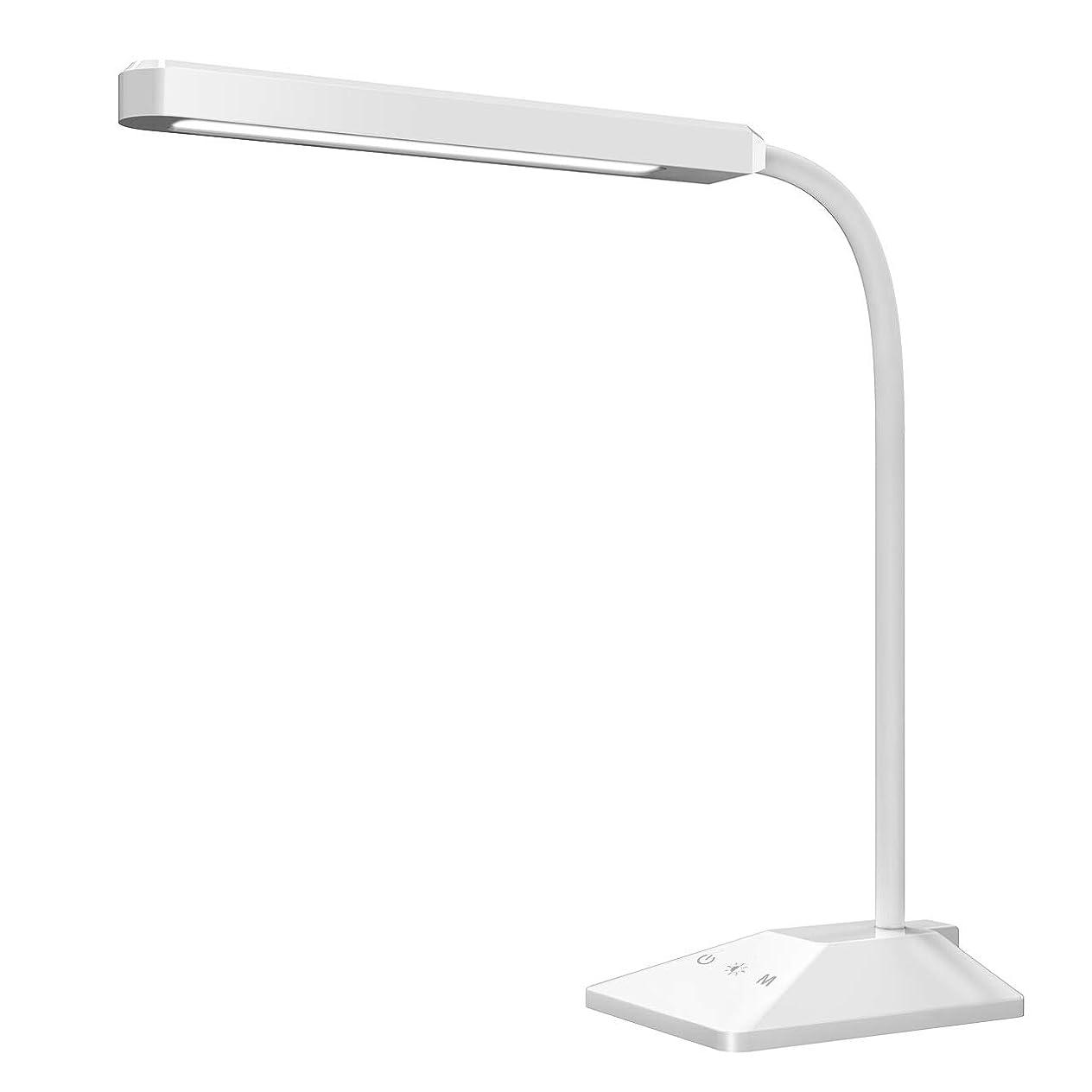 論理的にアルミニウム粘性の改良版 デスクライト Patech 電気スタンド USBポート搭載 5段階調光調色 LED卓上ライト タッチ操作 360度回転可能 読書 勉強 仕事 PSE認証 ホワイト