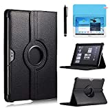 Case for Samsung Galaxy Tab 2 10.1 inch Tablet (GT-P5100 GT-P5110 GT-P5113), 360 Degree Rotating Stand Case Full Protective Cover,with Stylus Pen,Screen Film (Black)