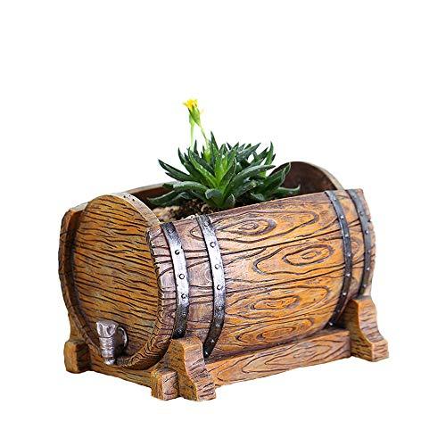 Macetero de vino tipo barril de plantas suculentas maceta de resina para interior carnosa, para dormitorio, balcón, sala de estar, cocina, oficina