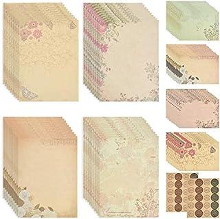 مجموعه لوازم التحریر ، کاغذ لوازم التحریر و پاکت نامه (80 مقاله کاغذ لوازم التحریر 40 پاکت) مجموعه نامه های QLOUNI 120Pcs Vintage Floral Letter