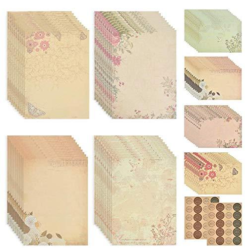 QLOUNI 120Pcs Vintage Floral Letter Stationery, Stationery Paper and Envelopes Set (80 Stationery Paper + 40 Envelopes) Letter Set