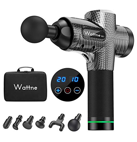 Massage Gun Muscle Massager Deep Tissue Percussion for Muscle Soreness Relief, Sports Drill Super Quiet Brushless Motor Cordless, 20 Speed Strength Levels, Wattne W1 Silver Boa