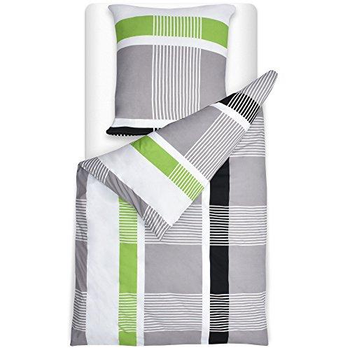 Beautissu Bettwäsche 155x220 cm Dana gestreift mit Reißverschluss 100% Baumwolle Bettbezug mit 80x80 cm Kissenbezug