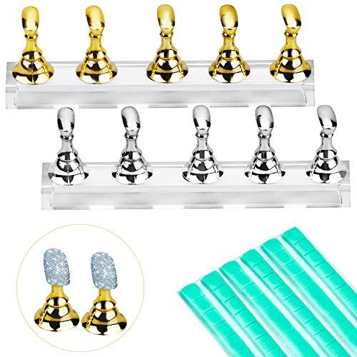 Inntek 2 Set Acrylnagel Kunst Praxis Stands Magnetische Nagelspitzenhalter Training Fingernagel Displayständer DIY Nagel Kristallhalter und 96 Stück Wiederverwendbarer (Gold und Silber)