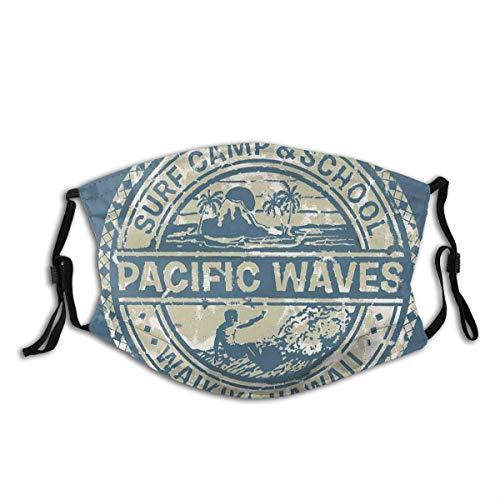 ADONINELP Pacific Waves Surf Camp und Schule Hawaii Logo Motiv mit Artsy Effects Design Schwarze Staubschutz, Wiederverwendbare und waschbare zum Laufen, Radfahren, Skifahren, Outdoor-Aktivitäten