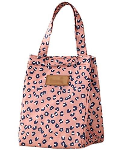 Fablcrew Rosa Leopard Picknick-Tasche Lunchpaket mit Klettverschluss Frische Kältepackung im Freienpicknick Isolierung Mittagessen Tasche