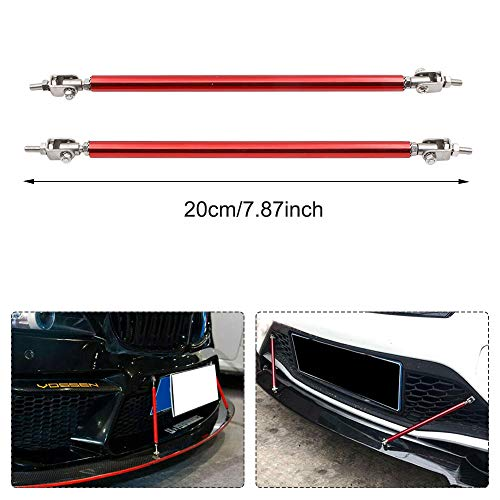"""2PCS Adjustable Front Bumper Lip Splitter Strut Rod Tie Support Bars Replacement fit for Universal 7.87"""" (Red)"""
