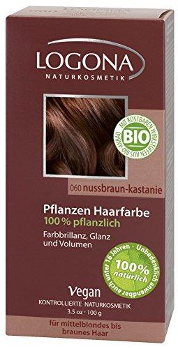 LOGONA Naturkosmetik Coloration Pflanzenhaarfarbe, Pulver - 060 Nussbraun-Kastanie - Braun, Natürliche & pflegende Haarfärbung (100g)