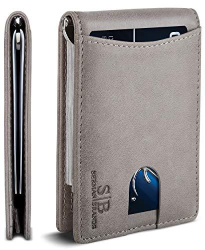 SERMAN BRANDS RFID Blocking Slim Bifold Genuine Leather Minimalist Front Pocket Wallets for Men with Money Clip Thin Gift (Slate Gray 1.S)