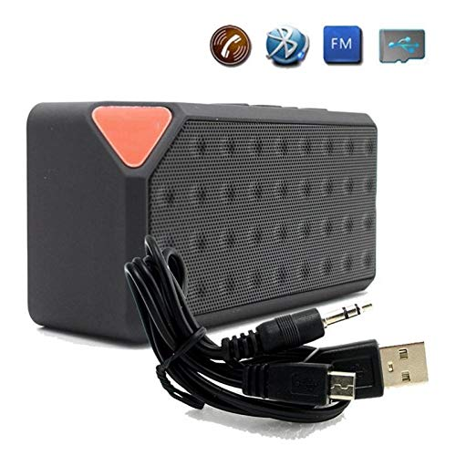LXH-SH Placa giratoria Mini Bluetooth Altavoz inalámbrico portátil de música Caja de Sonido del subwoofer Altavoces con micrófono USB TF de la Ayuda Jugador (Color : Black)