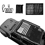 Micephon Mesh Top Sunshade for Jeep Wrangler JL JLU 4 Door (2018-2019)(US Flag)