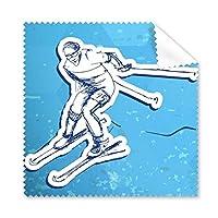 冬のスポーツ スノーボード コンテ スキー アクション ブルー ホワイト 水彩 イラスト メガネ クロス クリーニング 布 電話 スクリーン クリーナー 5個