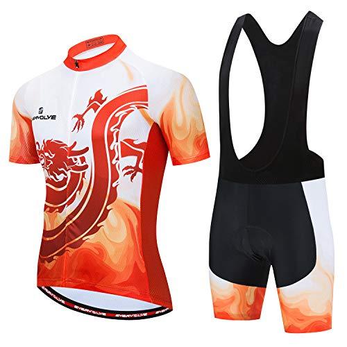Vgowater Evervolve Men's Cycling Jersey Black Bib Shorts Set Biking Bib Suits(L,Flame)