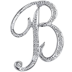 "Materials:Silver Plated+Clear Crystal, Size(by inch 1"" = 2.54cm):As shown in the figure 26 Letters Monogram Business Suit Lapel Pin Badge,Choose the Letter of Your Name,Suit for Business,Wedding,Banquet,Graduation and Any Formal Occasion Can be used ..."