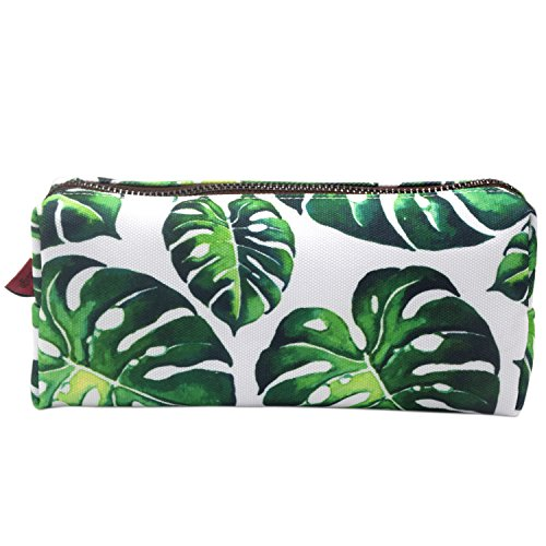 LParkin Tree Leaves Large Capacity Canvas Pencil Case Pen Bag Pouch Stationary Case Makeup Cosmetic Bag (Green)