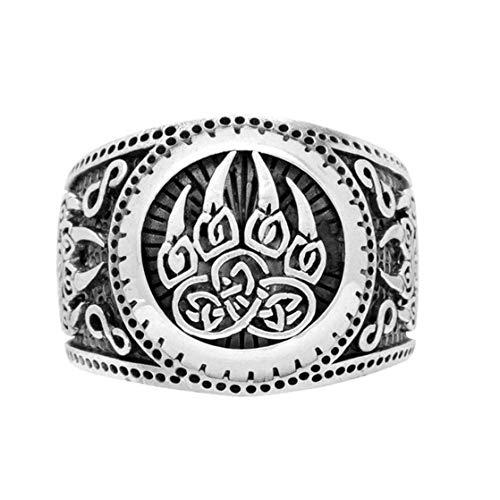 Jyuesi Muchos Tipos 1PC Plata Oso Pata Viking Anillos para Hombre Novio Regalo Nórdico Joyería Celtics Amuleto Anillos Antiguo - 3