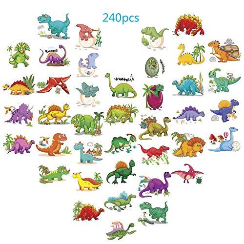 ZoomSky 240er Dino Kinder Tattoo,30 Blättter Temporäre Kindertatoo für Dinosaurier Kindergeburtstag Party Mitgebsel Geschenk Mädchen Jungen 40 Design