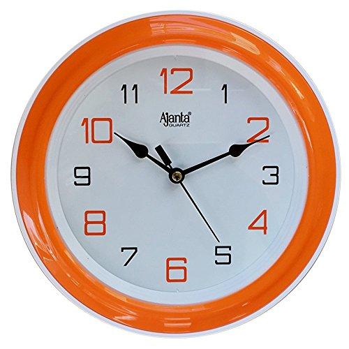 Ajanta Plastic Round Motion Clock (20.5 cm x 20.5 cm x 3.5 cm, Orange)