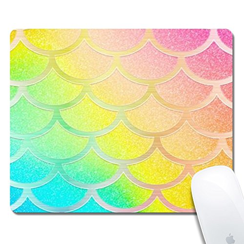 Rainbow Mermaid Scales Gaming Office Mouse Pad ZTtrade Durable Customized Non-Slip Rubber Mouse Pad-Rectangle.