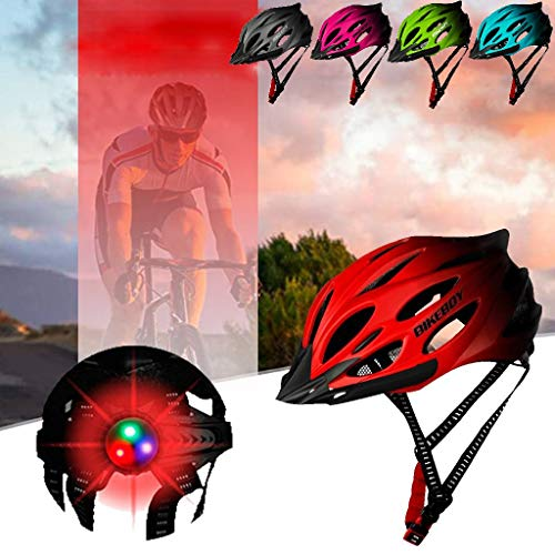 Adult Bike Helmet - Breathable Bicycle Helmet with Light Colorful and Sun Visor - MTB Road Cycling Mountain Bike Safety Helmet with Adjustable Chin Strap - 33X22X16CM