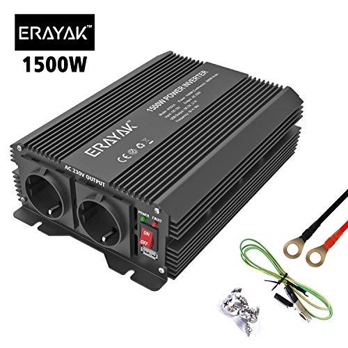 ERAYAK Inversor de Corriente 1500W (Pico 3000W), Convertidor, Transformador 12v 220v Con Puerto USB Con 2 AC Tomas y Encendedor Convertidor para Automóviles