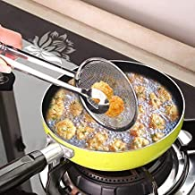 Snowpearl Multi-Functional 2 in 1 Fry Tool Filter Spoon Snack Strainer with Clip,Oil Frying BBQ Filter Stainless Steel Mesh Colander Serving Tong Pakkad Strainer Kitchen Tool