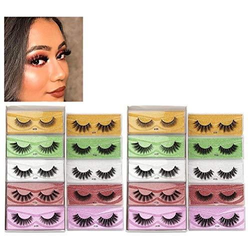 CZSMART Faux Mink Eyelashes 20 Pairs 10 Styles Mixed Fluffy Natural Fake Lashes Bulk 3D Faux Mink Wispy Eyelashes Pack with 20 Glitter Portable Eyelash Boxes
